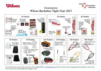 Turnierpreise Wilson Racketlon Night Tour 2015