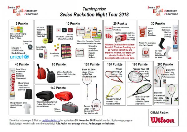 Preiskatalog Racketlon Night Tour 2018
