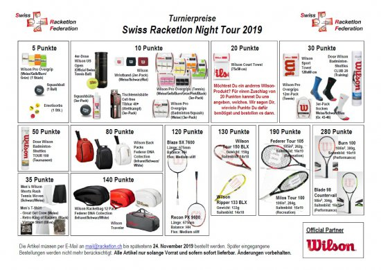 Preiskatalog Racketlon Night Tour 2019